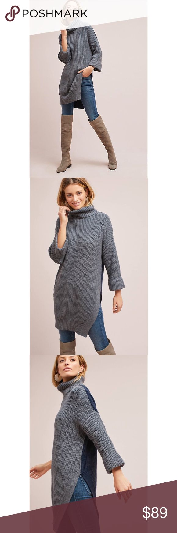 """Anthropologie Cuffed-Sleeve Turtleneck Tunic Sz L Anthropologie Cuffed-Sleeve Turtleneck Tunic Sweater.  Incredibly soft and cozy, this long-line tunic layers over your jeans or corduroys for versatile, of-the-moment style.  * cotton, nylon, wool * Side slit detail * Pullover styling * Hand wash * 34"""" long * New with tags * Pet free smoke free  RH.11.17 Anthropologie Sweaters Cowl & Turtlenecks"""