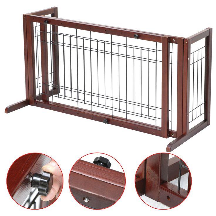Pet Fence Gate Free Standing Dog Gate Indoor Solid Wood Construction  Adjustable #Bestchoicegadget