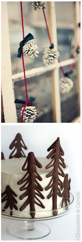 """Pinecone garland, make chocolate """"trees"""" to decorate side of vabilla frosting on cake. Christmas Cake!"""