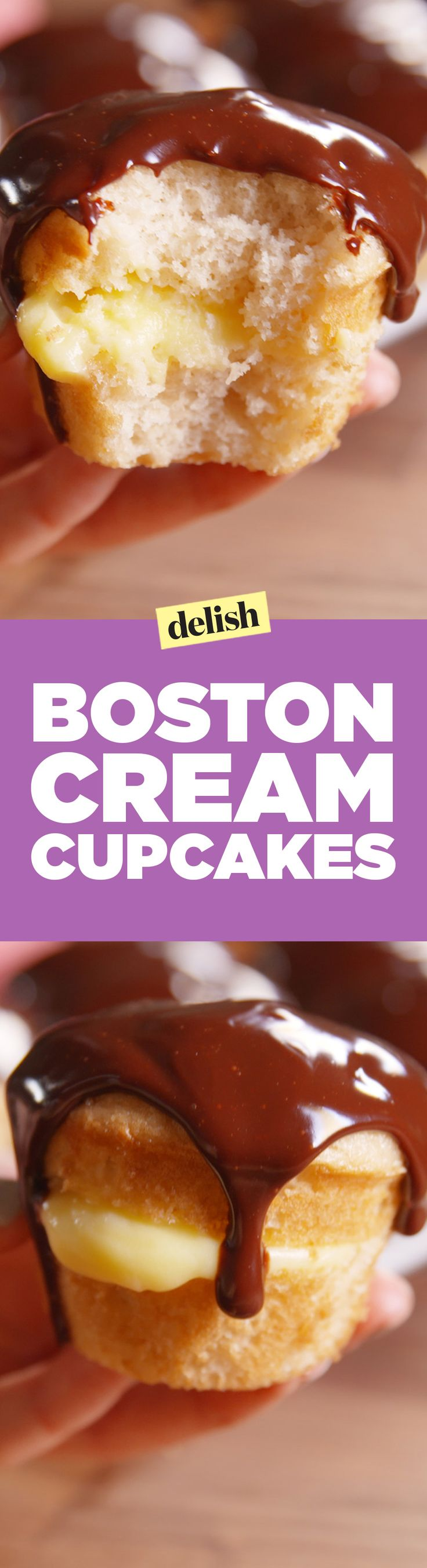 Boston cream cupcakes are the best way to hack a regular vanilla cupcake. Get the recipe on Delish.com.