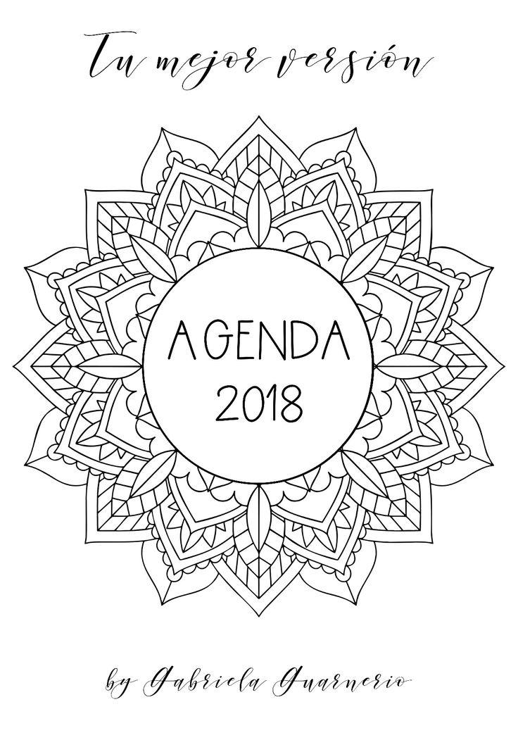 Agenda 2018 con mandalas para colorear y jornal para planear tus objetivos y vivir tu mejor - Calendario da tavolo con foto proprie ...