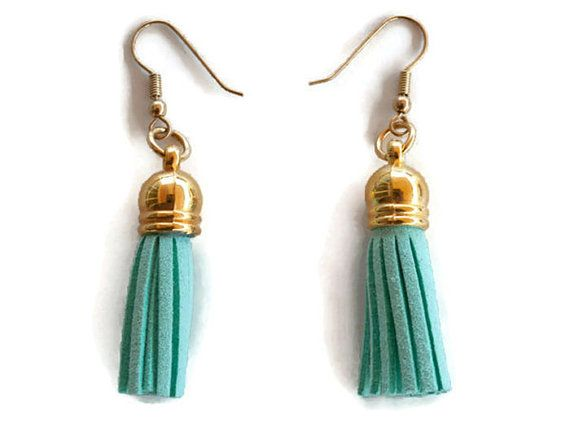 Turquoise tassel earrings,suede leather earrings, boho earrings, statement earrings, fringe earrings, dangle earrings, Christmas gift