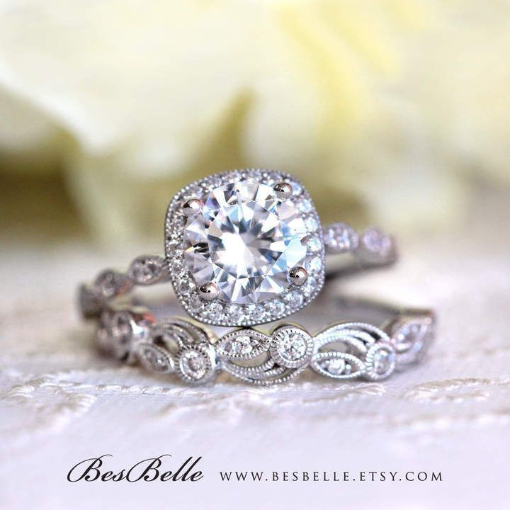 Etsy 2.20 ct.tw Art Deco Bridal Set Ring-Halo Engagement Ring w/ Leaf & Vine Vintage Wedding Ring-Elegant #ad #haloring #weddingring