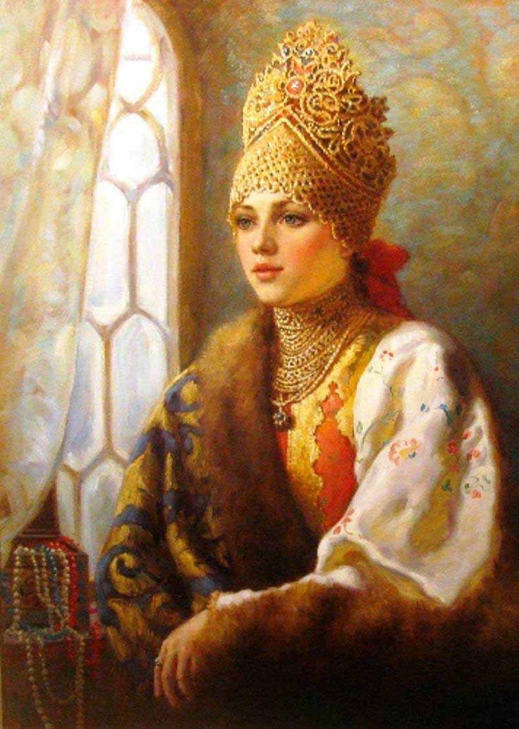 Russian costume in painting. Vladislav A. Nagornov. A Boyaryshnya at the Window. 2011 - 2012. A boyaryshnya is a noble girl in the ancient Russia, a boyar's daughter. #art #painting #Russian #costume