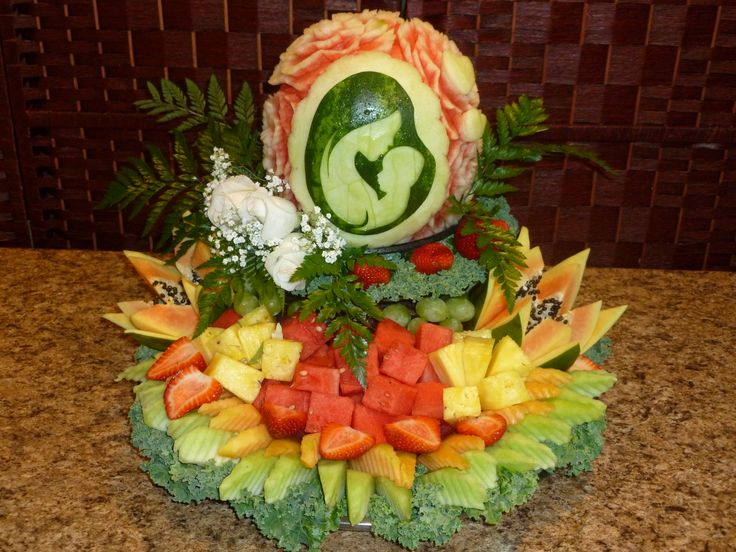 Baby shower fruit platter with mommy and watermelon
