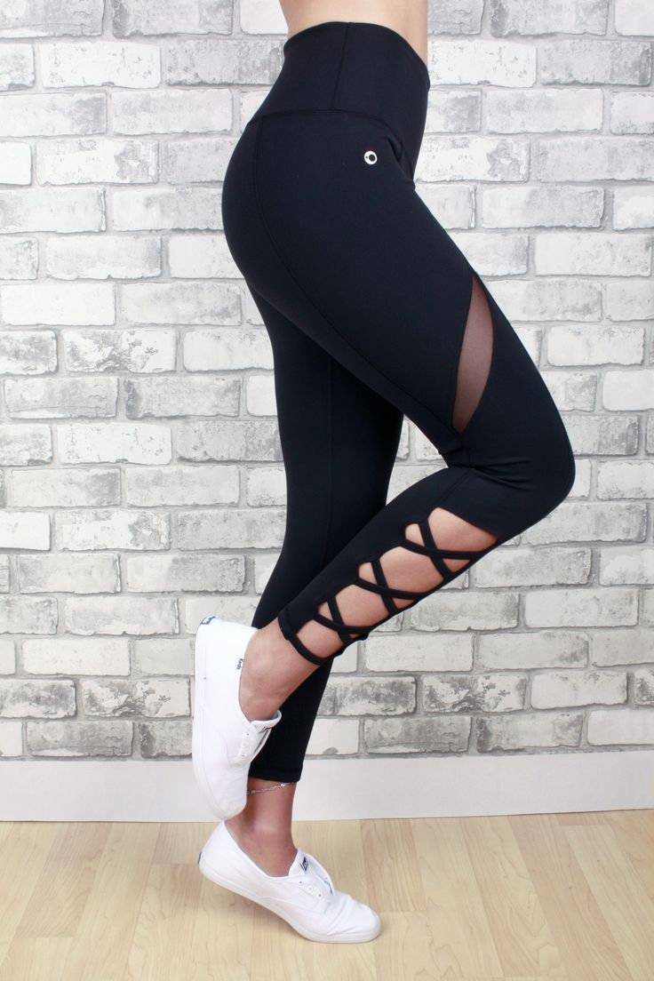 Giselle - high waisted legging with criss-cross calf and mesh detail on thigh,