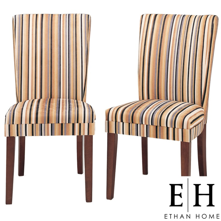 Tribecca Home Parson Striped Upholstered Dining Chairs (Set Of