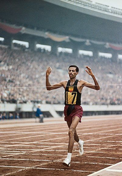 We take a look back at Ethiopian Abebe Bikila's victory in the marathon at the 1960 Olympic games in Rome, a win made even more notable by the fact that he ran it barefoot.