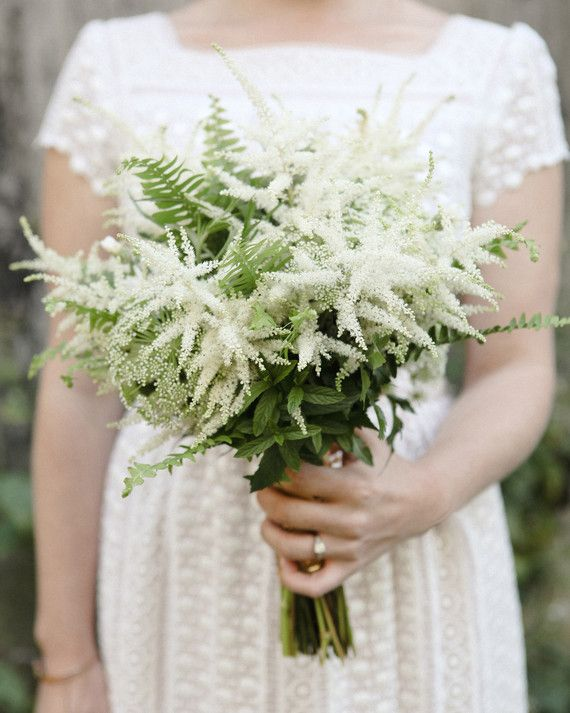 Dean wanted a bouquet that felt a bit wild. She consulted with Asrai Garden and chose ferns and herbs mixed with Queen Anne's lace and astilbe.