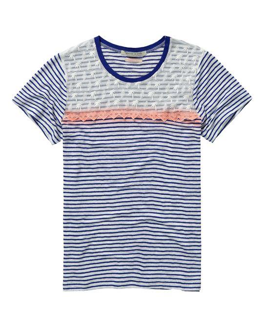 Gestreept linnen T-shirt met kanten inzetstuk - Scotch & Soda
