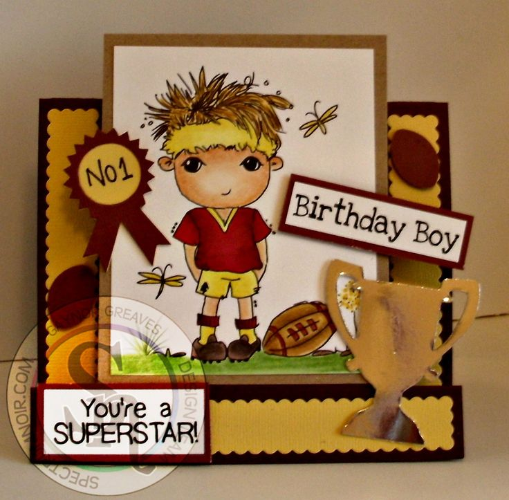 Designed by Gaynor Greaves - Alfie scruffy little kitten stamp. Spectrum Noir pens and pencils FS1 - GB1 - DR6 - GB6 - IG1 - 8 - 59 - 86 - 84 - 89 - 93 - 119 - 120 #spectrumnoir #rugby #crafterscompanion #birthdayboy #card