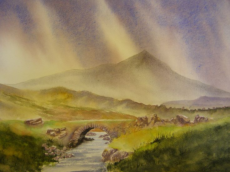Pack Horse Bridge no 3 12 x 16 Water colour by C Walters