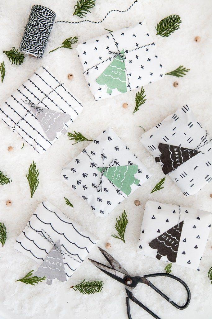 DIY Scandinavian Pattern Wrapping Paper + Free Printable Gift Tags