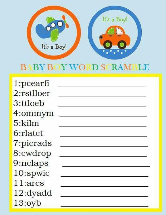 Baby scramble   Spelling error on number one. Add an I