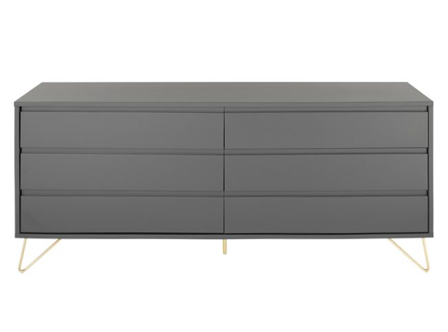Elona Wide Chest Of Drawers, Charcoal and Brass