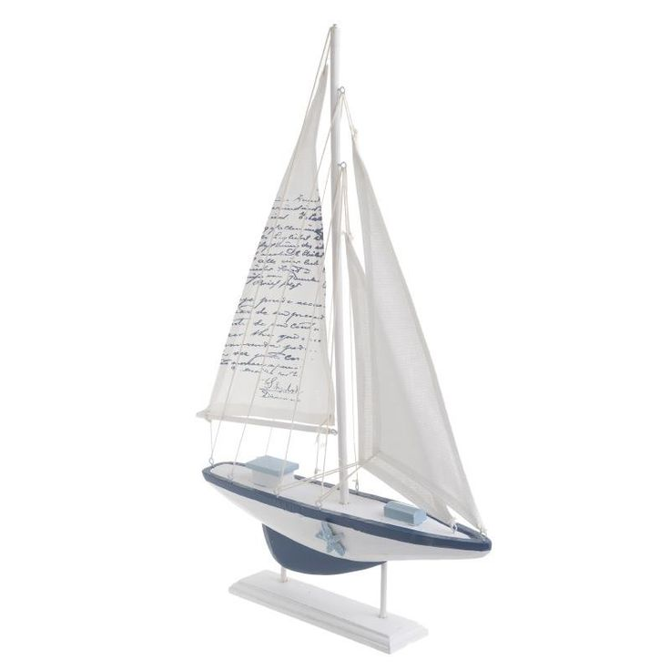 WOODEN BOAT IN WHITE/BLUE COLOR 50.5X5.5X32 - Metallic - Minatures - DECORATIONS - inart
