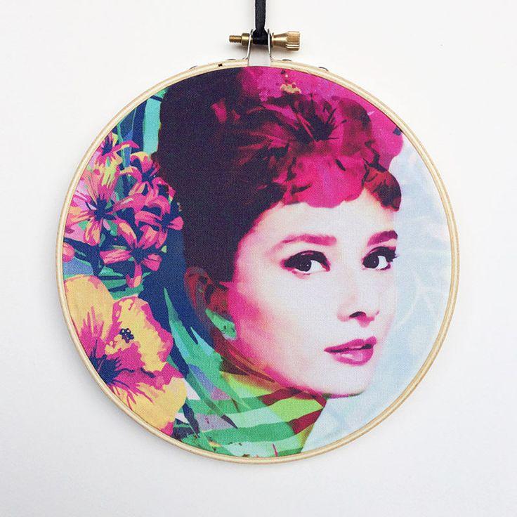 Audrey Hepburn Hoop Art, Audrey Hepburn Wall Art, Hollywood Wall Art, Embroidery Hoop Art, Embroidery Hoop Decor, Hanging Wall Art by RegalosOnline on Etsy