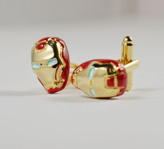 Mens Cufflinks- Fashion Cufflinks, Iron Man Design, with a Gift Box. $25.90, via Etsy.
