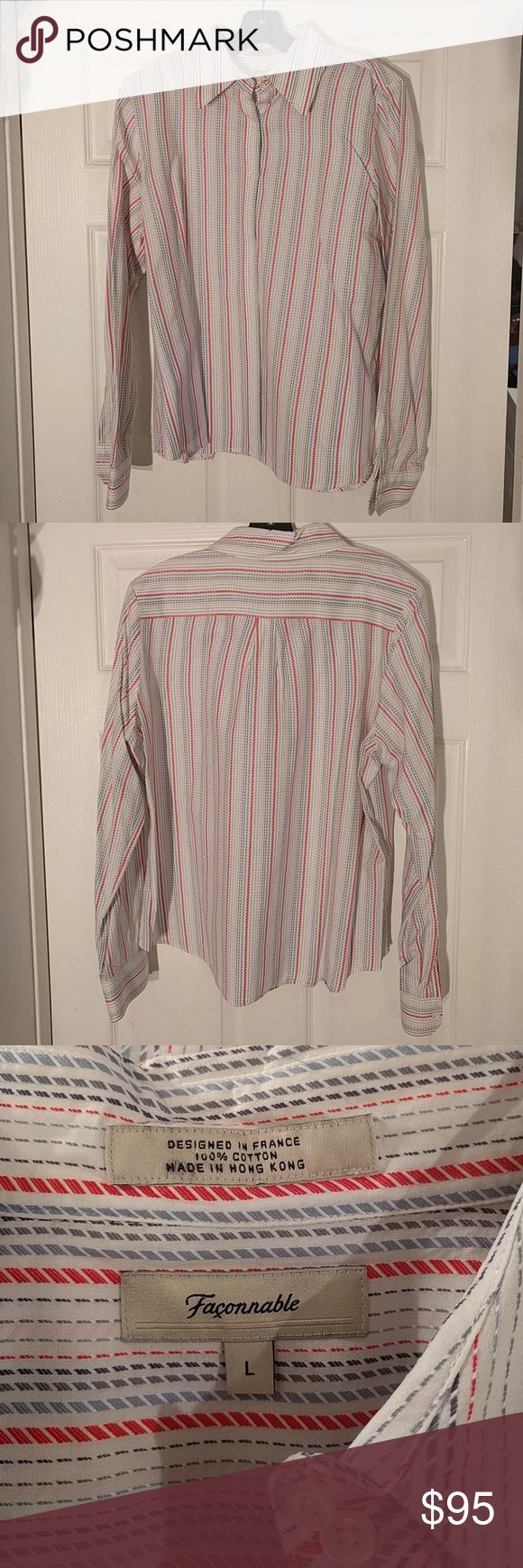 Faconnable shirt Striped collared shirt. Perfect condition with extra buttons, worn once. Nordstrom Tops Button Down Shirts