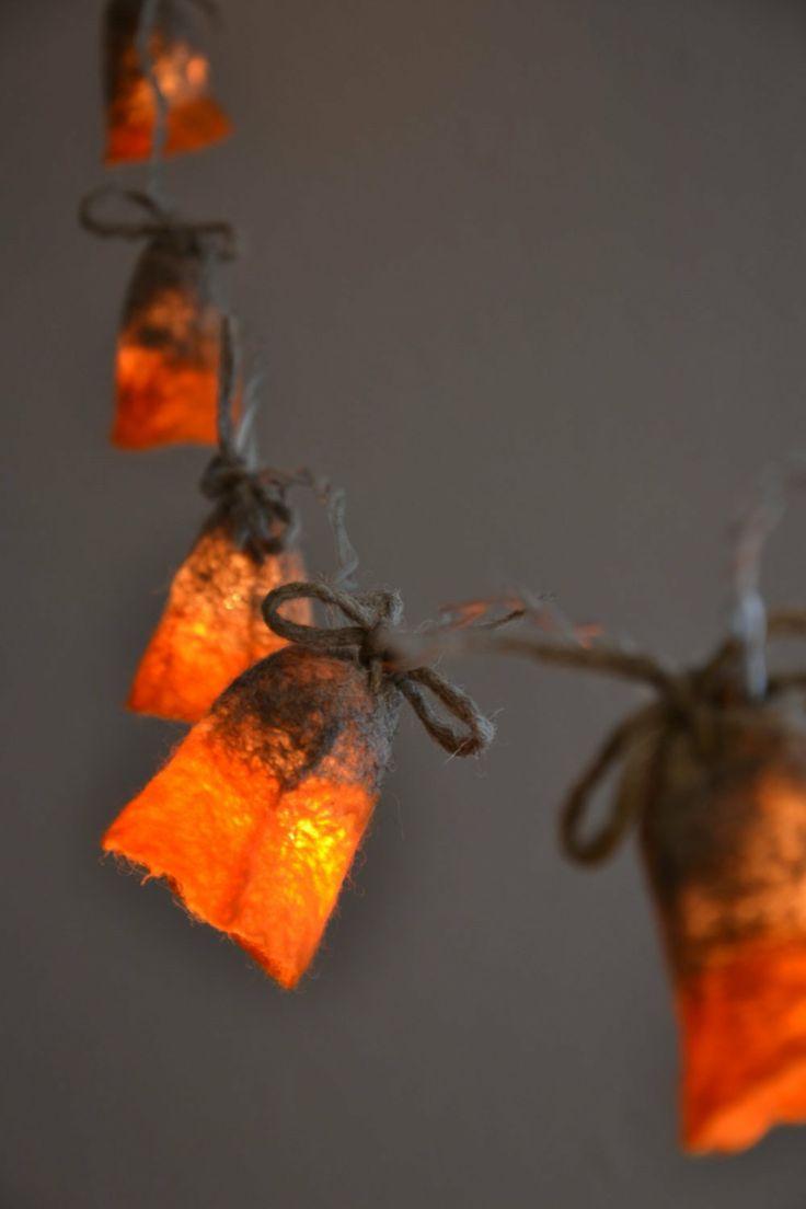 Diy flower string lights - Felted Strings Of Lights