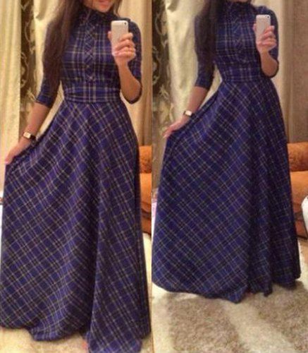 Vintage Turtle Neck Long Sleeve Lace-Up Plaid Dress For Women