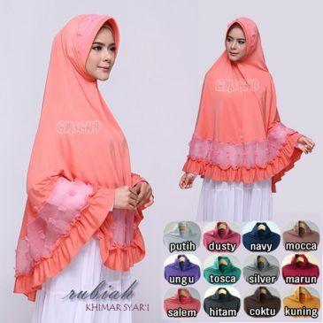 Jilbab instan /Khimar Rubiah Syar'i jersey, Jilbab khimar bergo pad syar'i dengan variasi linen rubiah di bagian pad dan bagian bawah jilbab, serta rempel di ujung sekeliling jilbab. Syar'i namun tetapcantik.
