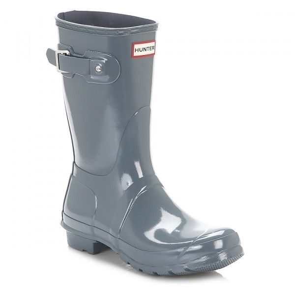 Original Gloss Short Graphite Synthetic Wellington Boots ($100) ❤ liked on Polyvore featuring shoes, boots, grey combat boots, gray mid calf boots, rubber boots, grey boots and short rain boots