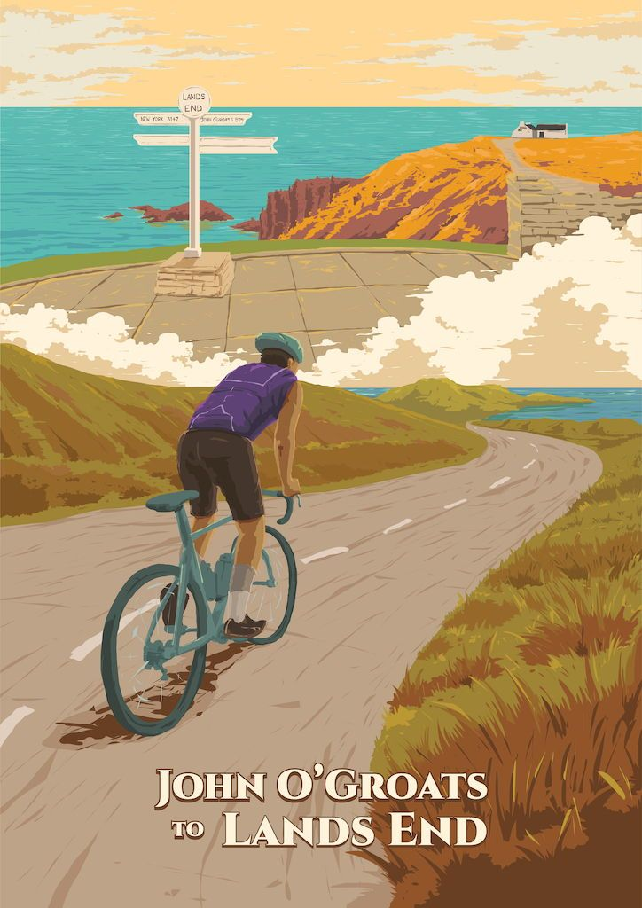 John O Groats To Lands End Cycling Poster Cycling Posters Travel Posters Original Travel