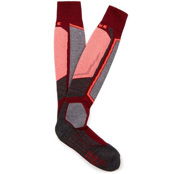 Falke SK2 ski socks ($25) ❤ liked on Polyvore featuring intimates, hosiery, socks, falke socks, merino wool blend socks, neon socks, falke hosiery and moisture wicking socks