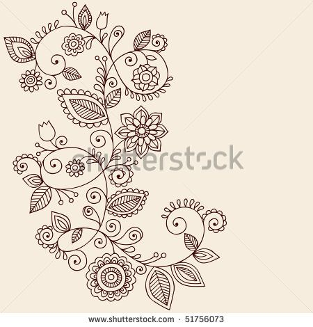 Hand-Drawn Abstract Henna Mehndi Vines and Flowers Paisley-Style Doodle Vector Illustration Design Element - stock vector