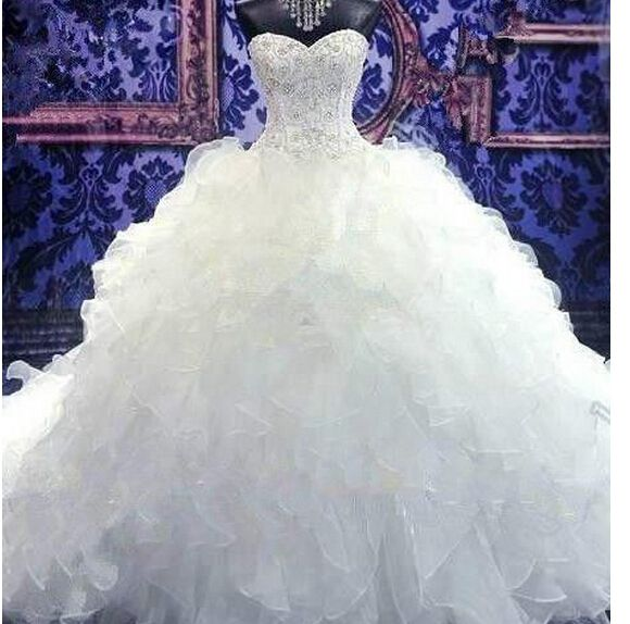 2016 Real Image Wedding Dresses Vestidos de Novia Luxury Sparkle Bling White Mermaid Sweetheart Beads Lace Up Organza Wedding Dress Bridal Gowns