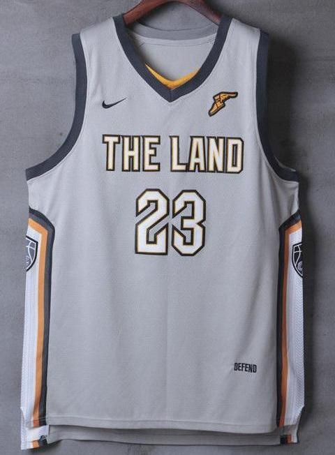 c0ddb86136c Men 23 Lebron James the Land Jersey Gray Cleveland Cavaliers City Player