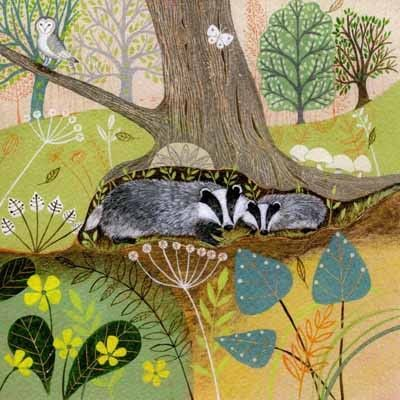 PL-ESK021 Pretty any-occasion greetings card illustrated by Lucy Grossmith with two badgers nestling under a tree in the woods