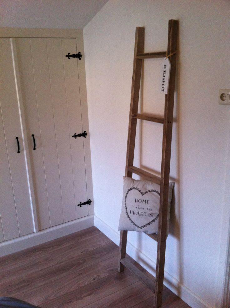 Steigerhouten trap/ ladder. Gemaakt van gebruikt steigerhout.