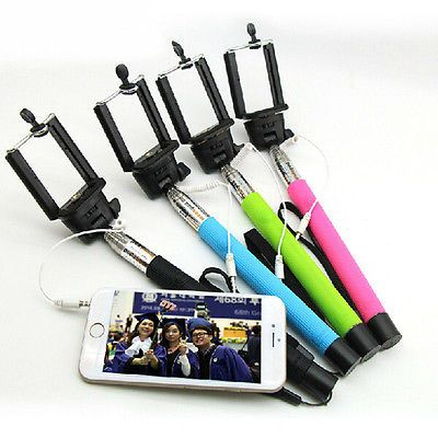 Extendable Wired Remote Shutter Handheld Selfie Stick Monopod For iPhone Samsung
