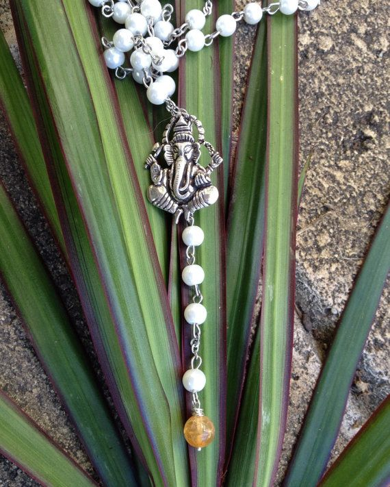 Sterling Silver Ganesh Faux Pearl Amazonite Necklace