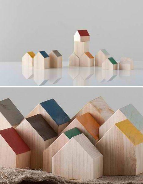 Wooden house blocks for kids