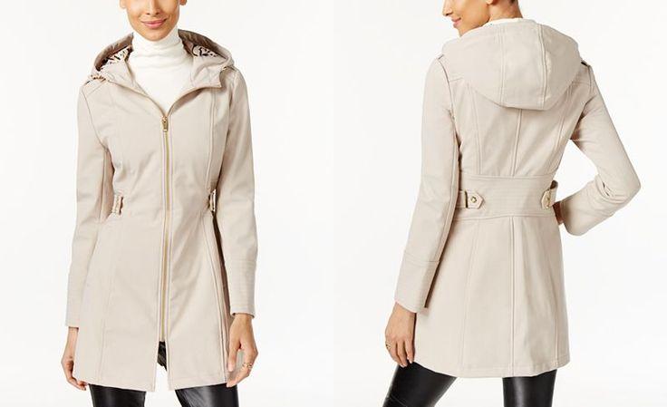 Via Spiga Hooded Water Resistant Softshell Raincoat - Coats - Women - Macy's