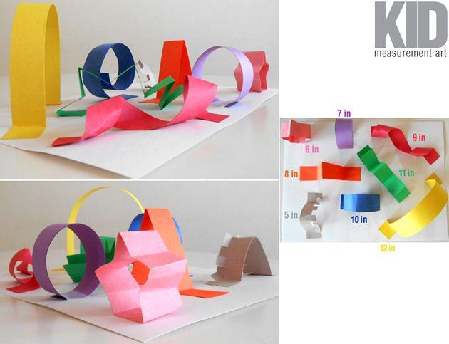Kid-Measurement-Art 3-D Collage: Measuring Give students different colors of construction paper. They cut 1-inch-wide strips. Then, they use a ruler and cut their strips in different lengths (5, 6, 7, 8, 9, 10, 11, 12 inches) and manipulate them into different designs, creating a 3-D collage. They write down their measurements next to each paper strip.