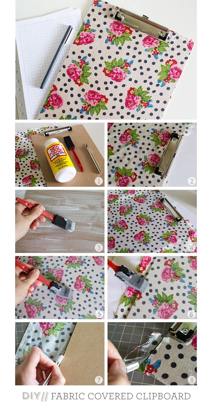 diy fabric clipboard- very cute, but I think mine done with scrapbook paper are easier