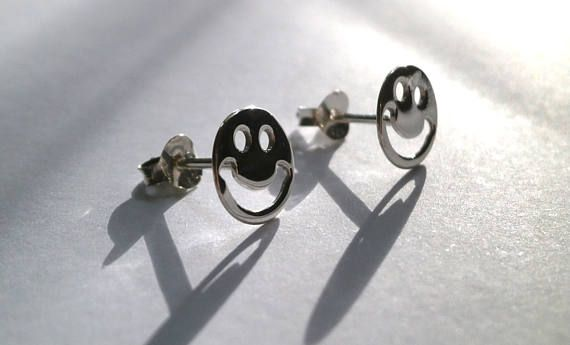 Smiley Face Sterling Silver Stud Earrings Tiny Earrings