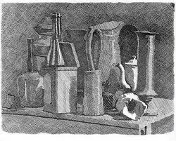 Georgio Morandi's etchings clearly identify Mass drawing.