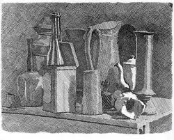 Georgio Morandi's etchings clearly identify Mass drawing.