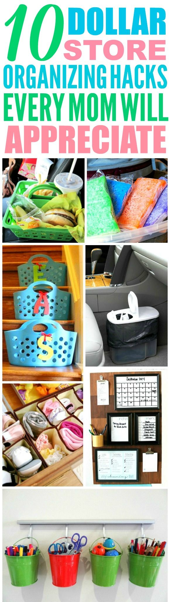 These 10 Dollar Store Organization hacks are THE BEST! Now I have an AMAZING way to keep my home clean as a parent! I love organization hacks for kids! Definitely pinning!