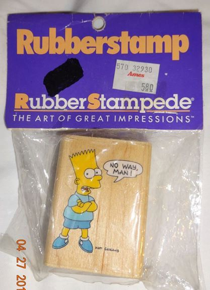 Vintage 27 year old Bart Simpson Rubber Stamp...Brand New in package from 1989..Imppressions by 1973Store on Etsy