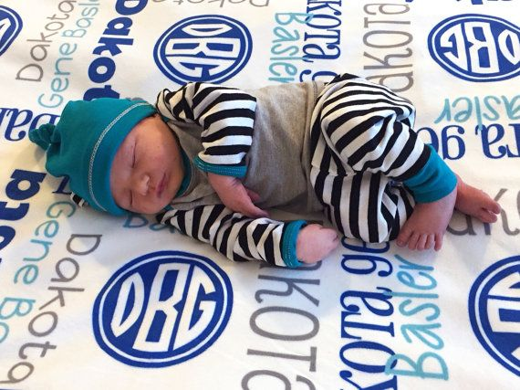 Personalized Baby Boy Blanket with Monogram  by TheDreamyDaisy