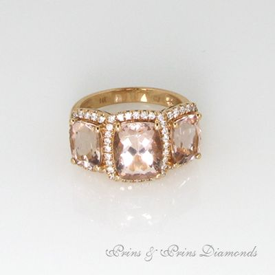 3 x Cushion cut Morganite stones with diamond halo in rose gold
