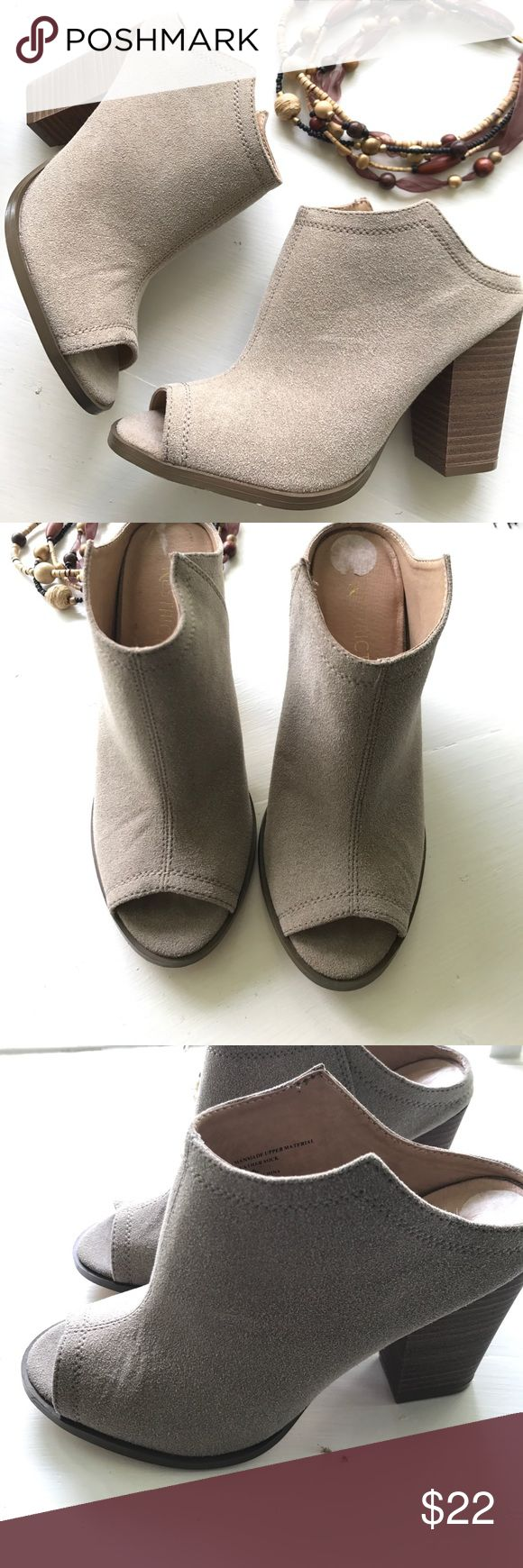 Suede Mules Heeled mules / cut out in back / beige shade of suede / worn once / slight wrinkle on both heels / could not remove size tag all the way / overall great condition with no stains or nicks / bundle with one more item and save! Restricted Shoes Mules & Clogs