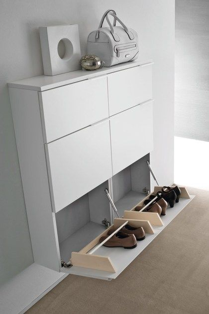 Lacquered wall mounted shoe cabinet LOGIKA | Wall mounted shoe cabinet by Birex