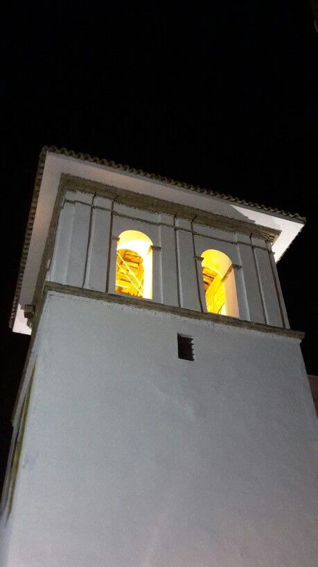 Torre del Reloj en Popayán, Cauca Foto nocturna costado later de la torre.